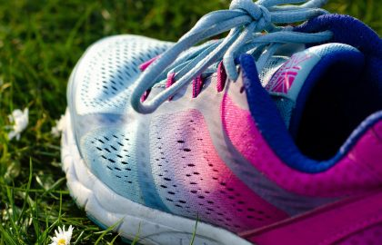 Pink and blue trainer