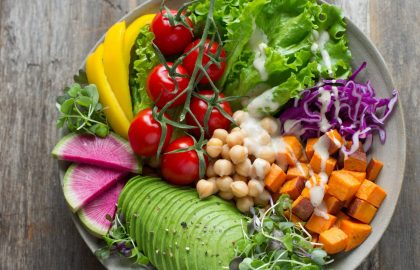 fresh vegetables and fruit plate