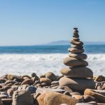 Tower of pebbles on the beach